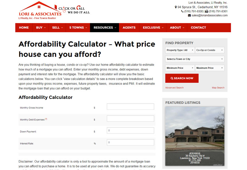 Lori Real Estate Calculator